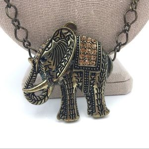 Jewelry - Elephant Long Necklace Boho Antiqued Brass Crystal